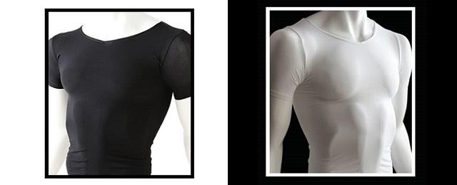 白と黒の加圧シャツ