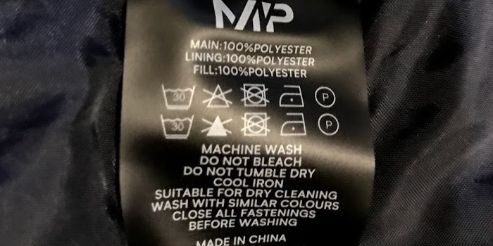 マイプロテインクロップドベロアパッファーの洗濯