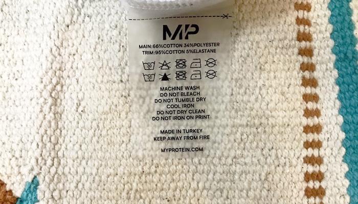 マイプロテインロゴスウェットの洗濯タグ