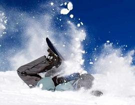 スノーボードで転ぶ画像